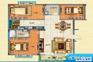 腊峰世家D户型图 3室面积:113.50m平米